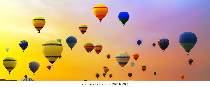 many hot air balloon landing