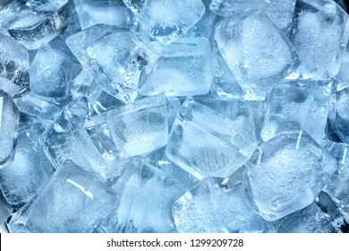 Many ice cubes on color background, top view