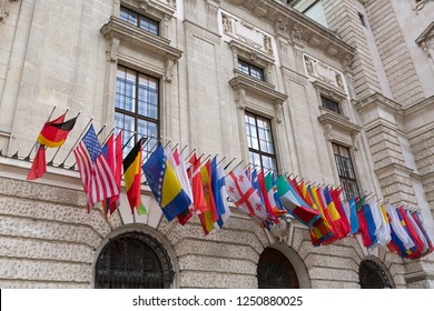 Many International set of flags at Hofburg Palace in Vienna, Austria