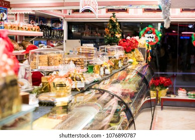 Many items for sale in bakery shop