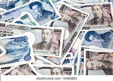 Many of the Japanese yen bank notes currency
