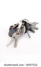 Many keys on isolated background.