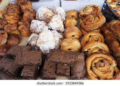 Many kind of bakery, brownies, pastry, croissant with almond selling in farmer market