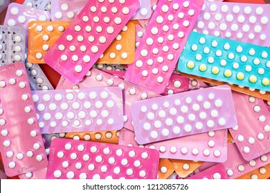 Many kind of contraceptive brand, colorful of birth control pills for women, medicine and drug concept