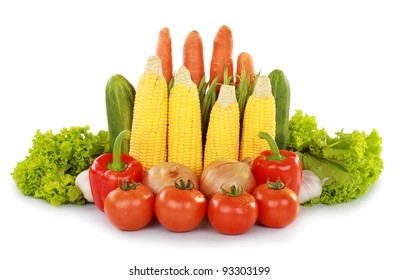 many kind of fresh vegetables isolated on white background
