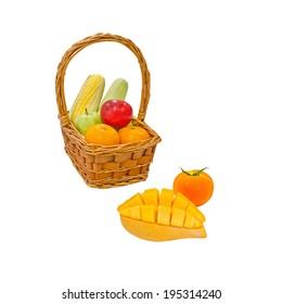 Many kind of fruits in the gift basket