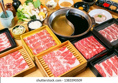 many kind of raw beef and pork with shabu shabu soup in Japanese's style
