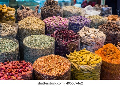 Many Kind of Spices in Spice Market at Souk, Dubai