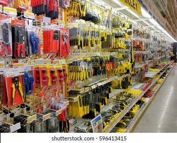 Many kind of wrenches on the rack for sale in the construction store warehouse in Thailand Hua Hin, Thailand February 18,2017