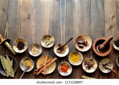 Many kinds of spices