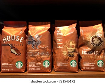 Many kinds of Starbuck coffee bean medium roast from Arabica  coffee bean by Starbuck coffee bean product in their packages on shelve in Starbuck coffee shop in  Bangkok, Thailand August 28,2017