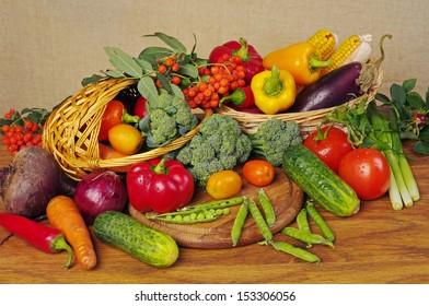 Many  kinds of vegetables on the wooden table