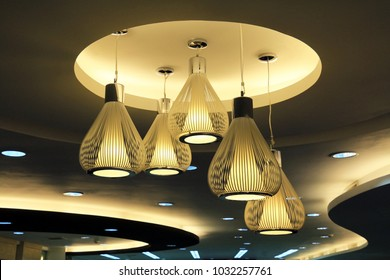 Many lamps in the room. Lighting for Interior design.