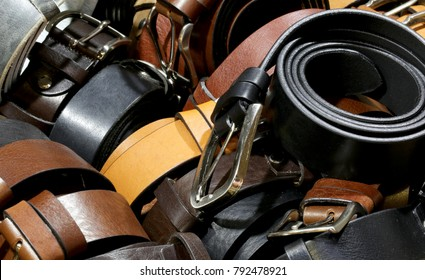 many leather belts for sale in the artisan workshop