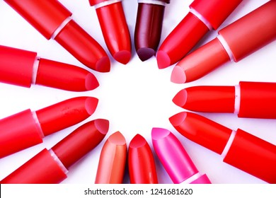 Many lipsticks on white background.red,pink,nude.flat lay