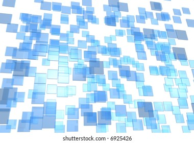 Many little 3D plates blue and transparent in chaos arrangement