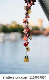 Many locks of love on the historic bridge. Memory, Love.