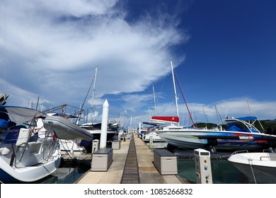 Many Luxury Yachts float on crystal clear sea in Marina Bay Club, expensive Private boat stay calm in docking pier under summer blue sky green ocean