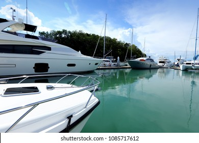 Many Luxury Yachts float on clear sea in Marina, expensive Private boat stay calm in docking pier under summer blue sky green ocean