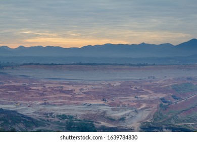 Many machine working Open pit mine, digging for coal ,Mae Moh ,Lampang, Thailand