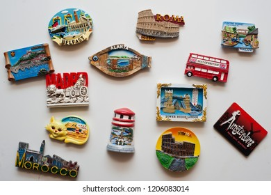 many magnets on the fridge