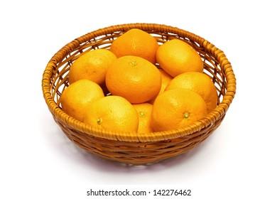 Many mandarin oranges in a basket