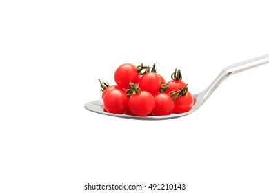 Many micro tomato on the spoon