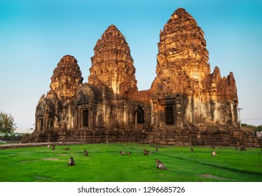"Many monkeys in archaeological site ""Phra Prang Sam Yod"" The castle of Lopburi city, Thailand"