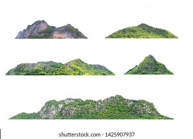 Many mountains, naturally on a white background