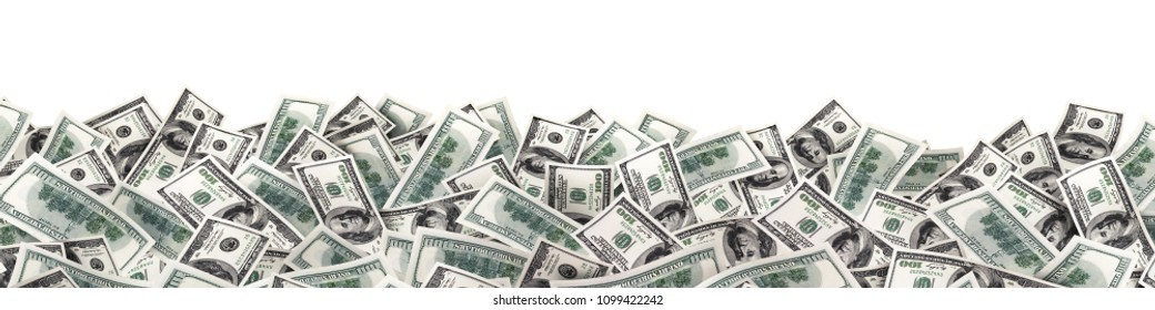 many much money on white background. wide image. 3d illustration