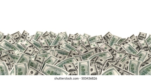 many much money on white background (done in 3d rendering)