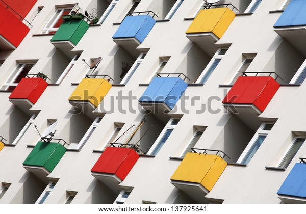 many multicolored building balconies