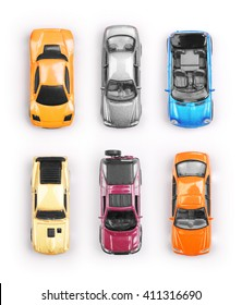 Many multi-colored toy cars on white background