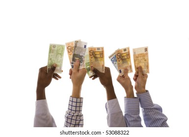Many multiracial hands holding euro banknotes isolated on white