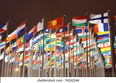 many national flags with night sky