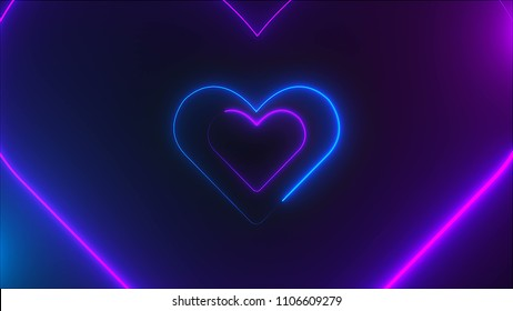Many neon heart shapes in space, abstract computer generated backdrop, 3D rendering backdround