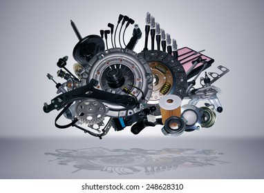 Many new auto parts for aftermarket, OEM spare parts. Big pile of new parts for passenger car. Spare parts and auto parts for shop, auto service. Set new part for car. All spare parts was isolated.