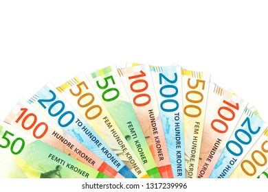 many new norwegian krone bank notes with copy space