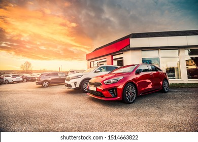 Many new stock cars standing in the front of modern car dealership building prepared for sale for customers/owners during sunny morning sunrise.