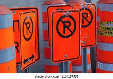 many no parking construction orange traffic sing