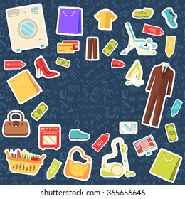 Many object purchased in the shop. Shopping abstract background concept. In flat sticker style icons with shop label design illustration.