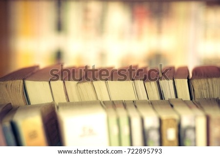 Many Old Books Bookshelf In A Bookshop And Library Shallow DOF Vintage Filter