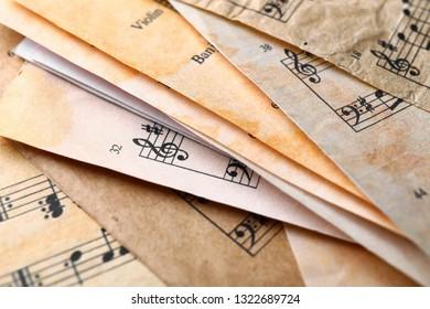 Many old music sheets, closeup