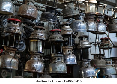 Many old petroleum lamps for repairs and spare parts on a souk in Sfax, Tunisia