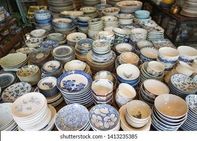 many old vintage thai ceramic table ware