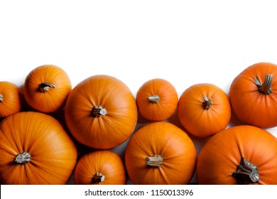 Many orange pumpkins frame isolated on white background, autumn harvest, Halloween or Thanksgiving concept