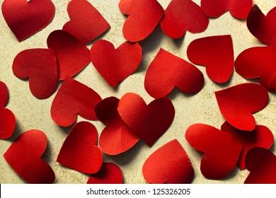 Many paper hearts, Valentine background