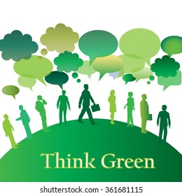 Many people and green speech