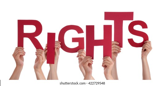 Many People Hands Holding Red Word Rights
