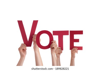 Many People Holding the red Word Vote, Isolated